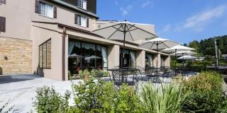 Meadowbrook terrace with umbrellas